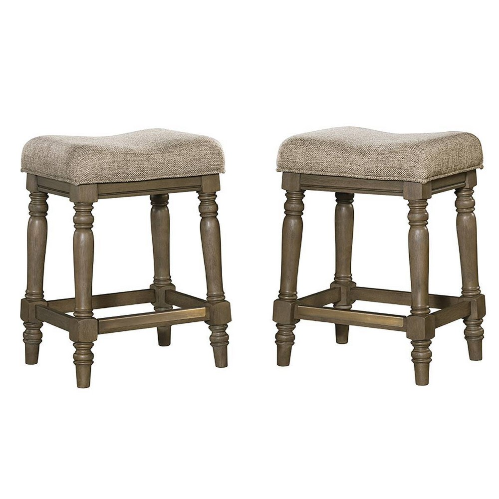 "Image of ""Set of 2 24"""" Balboa Park Backless Barstool With Cushion Seat Roasted Oak - Intercon"""