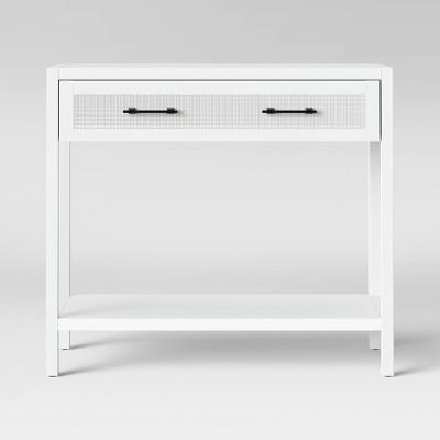 Warwick Wood & Rattan Console Table White - Threshold™