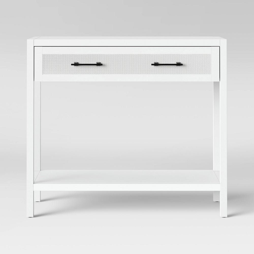 Warwick Wood & Rattan Console Table White - Threshold