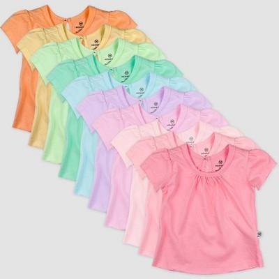 Honest Baby Girls' 10pk Rainbow Organic Cotton Puff Sleeve T-Shirt - 3-6M