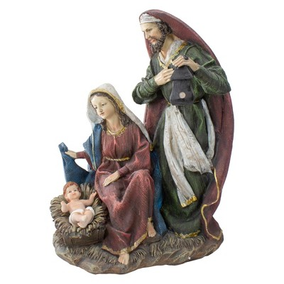 """Northlight 14"""" Green and Brown Silent Night Holy Family Nativity Christmas Figurine"""