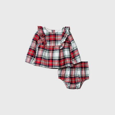 Baby Girls' Flannel Plaid Bloomer Top & Bottom Set - Cat & Jack™ Red 6-9M