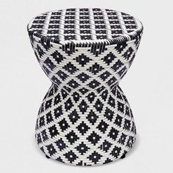 Wicker Hourglass End Table White/Black - Opalhouse™