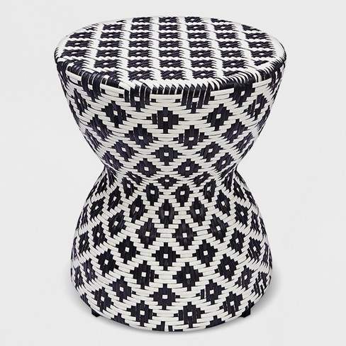 Wicker Hourglass End Table White/Black - Opalhouse™ - image 1 of 2