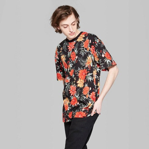 8baac3a73 Men's Floral Print Regular Fit Short Sleeve Boxy T-Shirt - Original Use™  Black