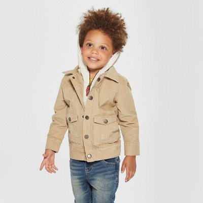 Toddler Boys' Genuine Kids® from OshKosh Corduroy Track Jacket with Removable Hood - Light Brown 12M
