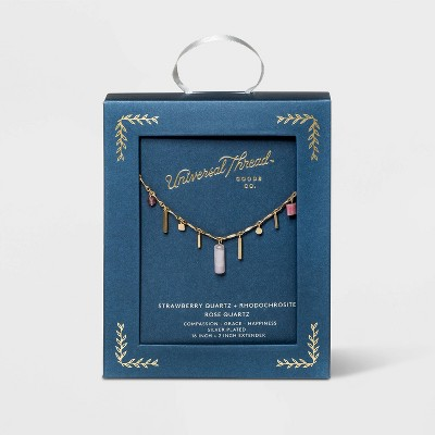 Mixed Semi-Precious Rose Quartz, Strawberry Quartz and Rhodonite Charm Necklace - Universal Thread™ Light Pink