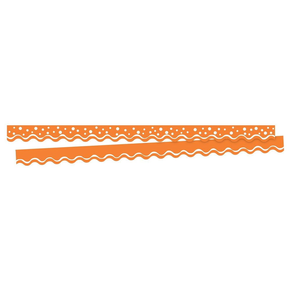 Barker Creek Bulletin Board Double-Sided Border - Orange Scalloped Edge