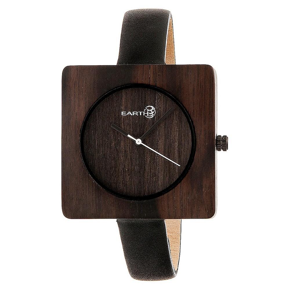 Earth Wood Women's Teton Leather Strap Watch - Dark Brown