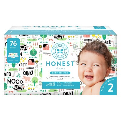 Honest Company Diapers Club Pack, Barnyard Babies - Size 2 (76ct)