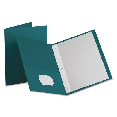 """Oxford Twin-Pocket Folders with 3 Fasteners Letter 1/2"""" Capacity Teal 25/Box 57755"""
