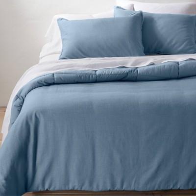 King/California Heavyweight Linen Blend Comforter & Sham Set Sky Blue - Casaluna™