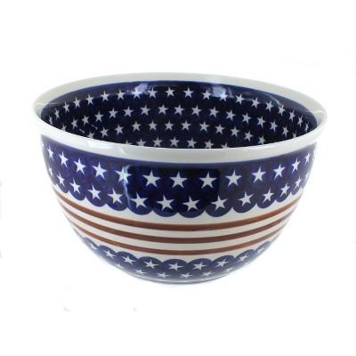 Blue Rose Polish Pottery Stars & Stripes Large Mixing Bowl