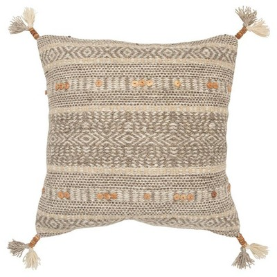 Stripe Poly Filled Square Pillow Natural - Rizzy Home