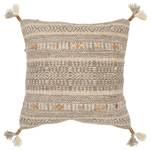 Stripe Poly Filled Square Pillow Natural - Rizzy Home - image 1 of 4