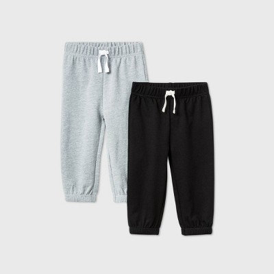 Baby Boys' 2pk Jogger Pants - Cat & Jack™ Gray/Black 0-3M