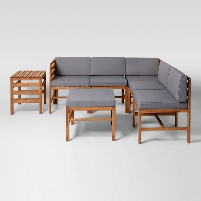 7pc Modular Acacia Sectional - Saracina Home