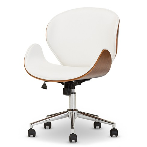 Bruce Modern and Contemporary Office Chair - White, Walnut Brown - Baxton Studio - image 1 of 4