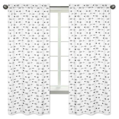 Black & White Arrow Curtain Panels - Sweet Jojo Designs®