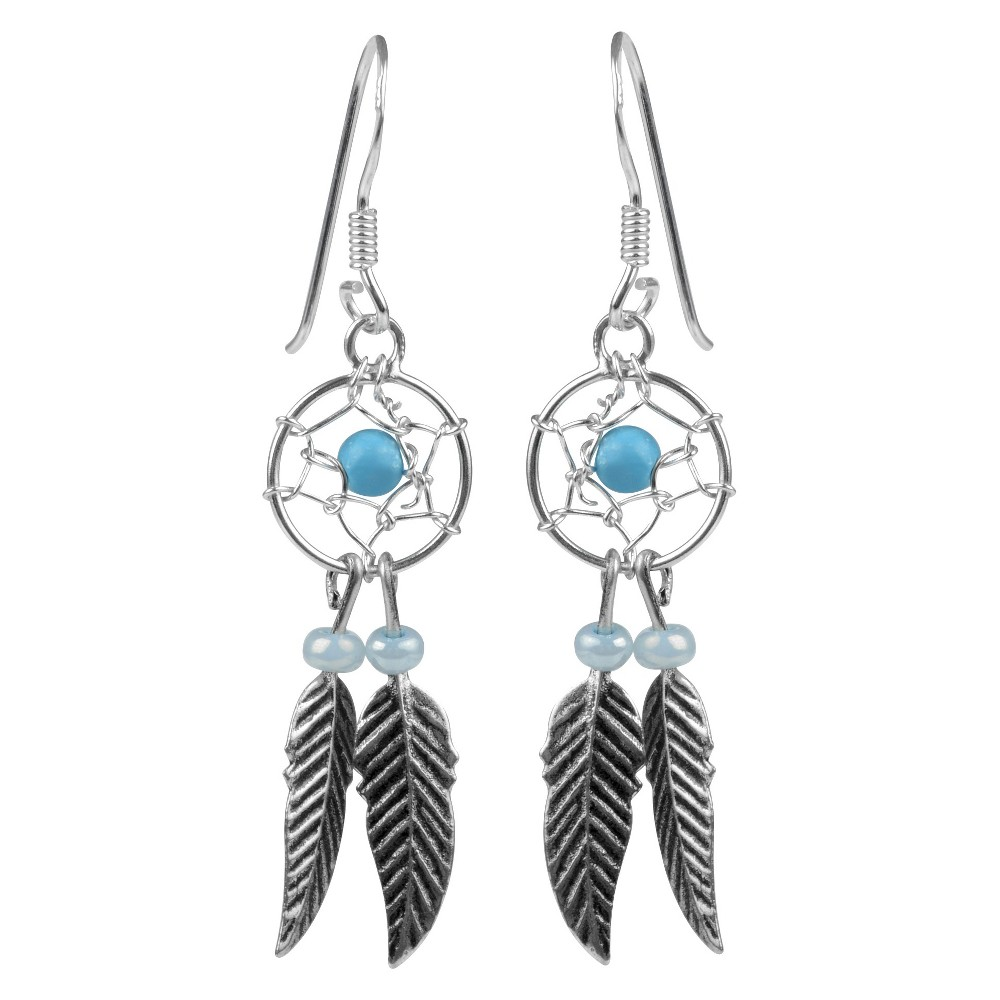 1/3 CT. T.W. Round-cut Turquoise Bead Set Western Dangle Earrings in Sterling Silver - Silver, Kids Unisex