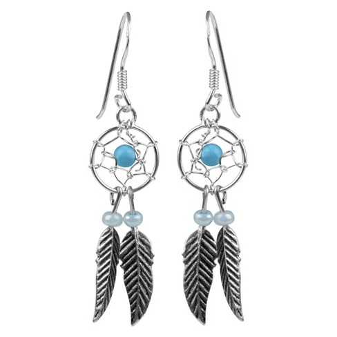 1/3 CT. T.W. Round-cut Turquoise Bead Set Western Dangle Earrings in Sterling Silver - Silver - image 1 of 2