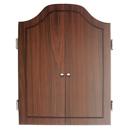Dmi Darts Deluxe Dartboard Cabinet Set With Rosewood Finish