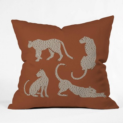 """16""""x16"""" Megan Galante Leopard Block Party Throw Pillow Red - Deny Designs"""