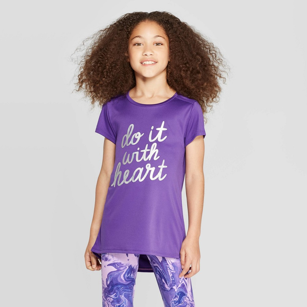 Image of Girls' Do It With Heart Graphic Tech T-Shirt - C9 Champion Purple M, Girl's, Size: Medium