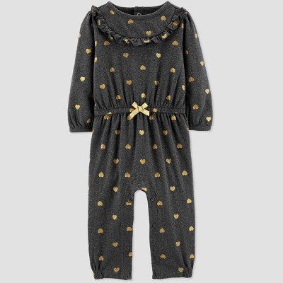 Baby Girls' Hearts Romper - Just One You® made by carter's Charcoal 6M