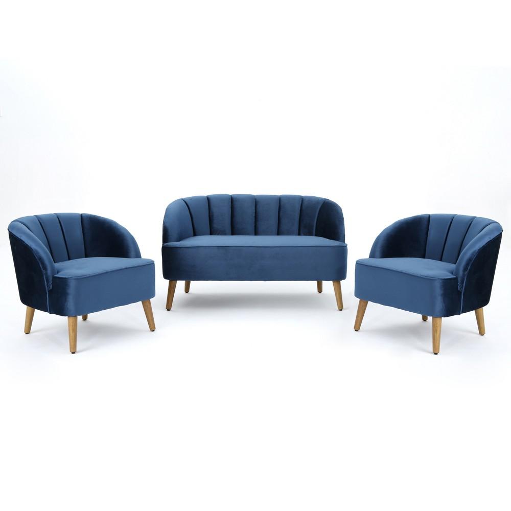Amaia 3pc Modern New Velvet Chat Set Cobalt Blue - Christopher Knight Home, Colbalt