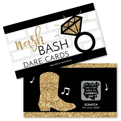 Big Dot of Happiness Nash Bash - Nashville Bachelorette Party Game Scratch Off Dare Cards - 22 Count