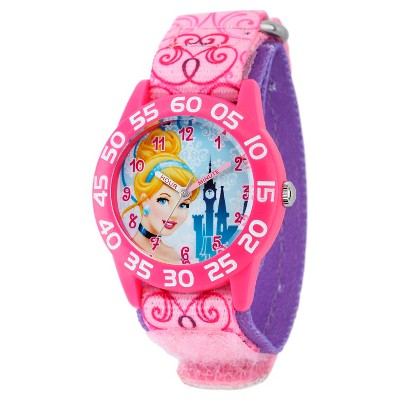 Girls' Disney Cinderella Pink Plastic Time Teacher Watch - Pink