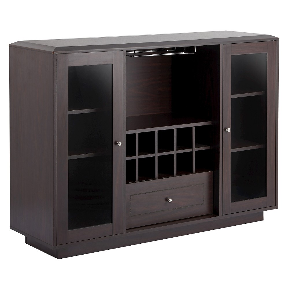 Candie Modern Multi-Storage Dining Buffet With Glass Cabinets Espresso (Brown) - Homes: Inside + Out