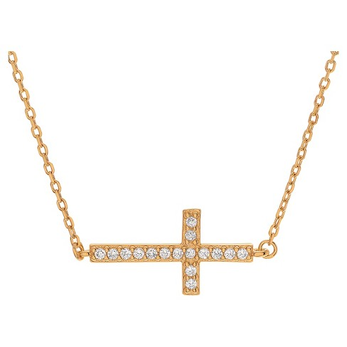 1/6 CT. T.W. Round-cut CZ Pave Set Sideways Cross Necklace in Sterling Silver - image 1 of 2