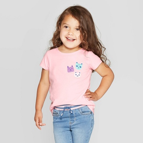 Toddler Girls' Short Sleeve Cat Graphic T-Shirt - Cat & Jack™ Light Pink - image 1 of 3