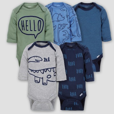 Gerber Baby Boys' 5pk Long Sleeve Onesies Bodysuit Dino - Blue Newborn