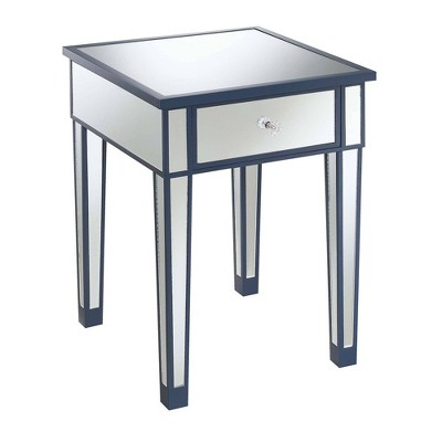 Gold Coast Mirrored End Table with Drawer Cobalt Blue/Mirror - Breighton Home