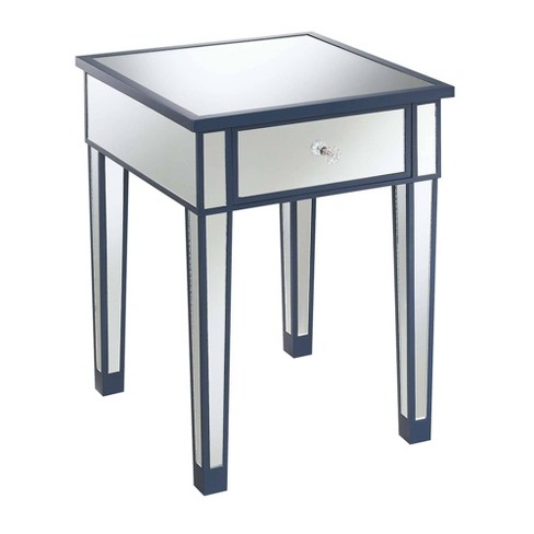 Gold Coast Mirrored End Table with Drawer Blue/Mirror - Johar Furniture - image 1 of 4