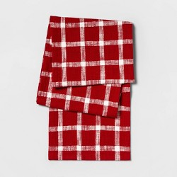 "108""X14"" Slubby Windowpane Plaid Table Runner Red - Threshold™"