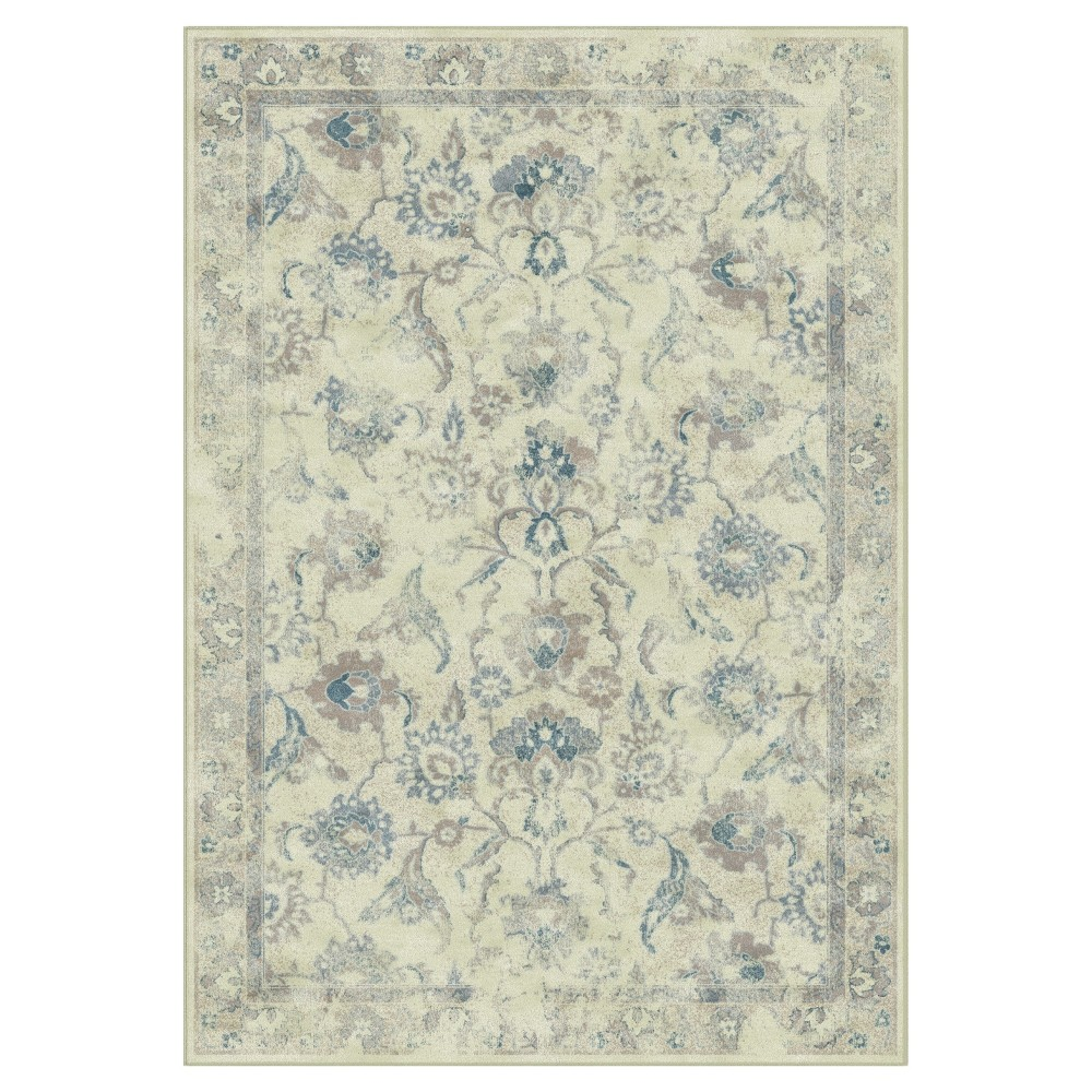 Stone/Blue (Grey/Blue) Floral Loomed Accent Rug 4'X5'7 - Safavieh