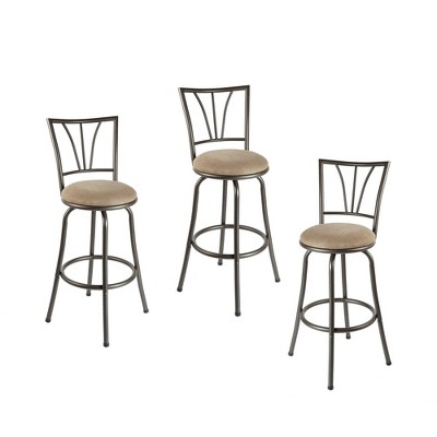 Set of 3 Stetson Adjustable Swivel Metal Barstools - Silverwood