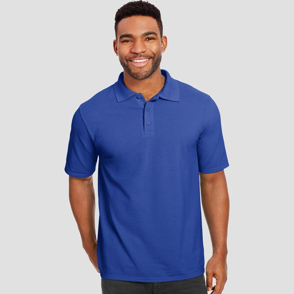 Hanes Men's Short Sleeve X-Temp Performance Pique Polo Shirt - Deep Blue 2XL