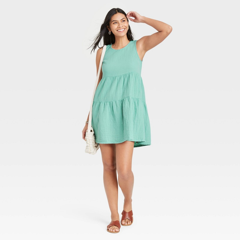 Women 39 S Gauze Tiered Tank Dress Universal Thread 8482 Green M