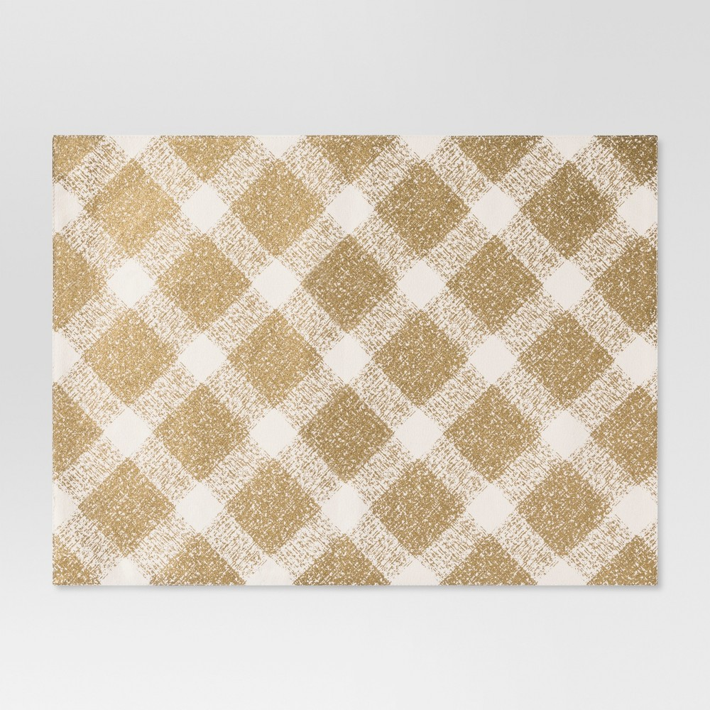 Cream (Ivory)/Gold Metallic Plaid Placemat - Threshold