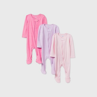 Baby Girls' 3pk Sleep N' Play - Cloud Island™ Pink 0-3M