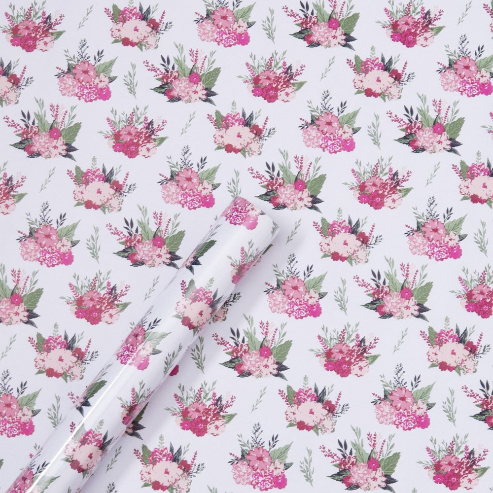 Image of Floral Gift Wrap - Spritz , White