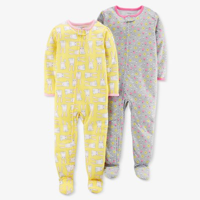 Baby Girls' Bunnies/Floral Pajama Set - Just One You® made by carter's Yellow 9M