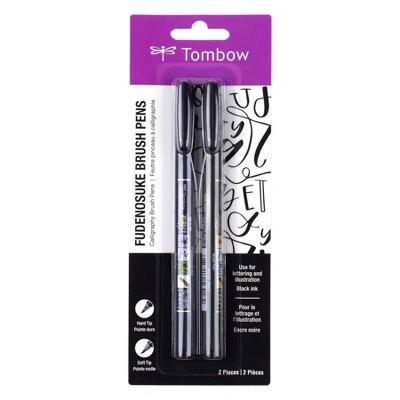 2pk Tombow Fudenosuke Calligraphy Fine Point Brush Pens - Black
