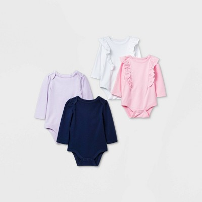 Baby Girls' 4pk Long Sleeve Bodysuit - Cat & Jack™ Blue 6-9M
