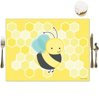 Big Dot of Happiness Honey Bee - Party Table Decorations - Baby Shower or Birthday Party Placemats - Set of 16